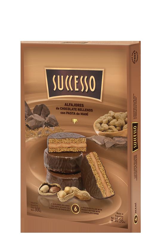 Chocolate genuino relleno con pasta de Maní x 6 unidades de 50 grs. c/u.