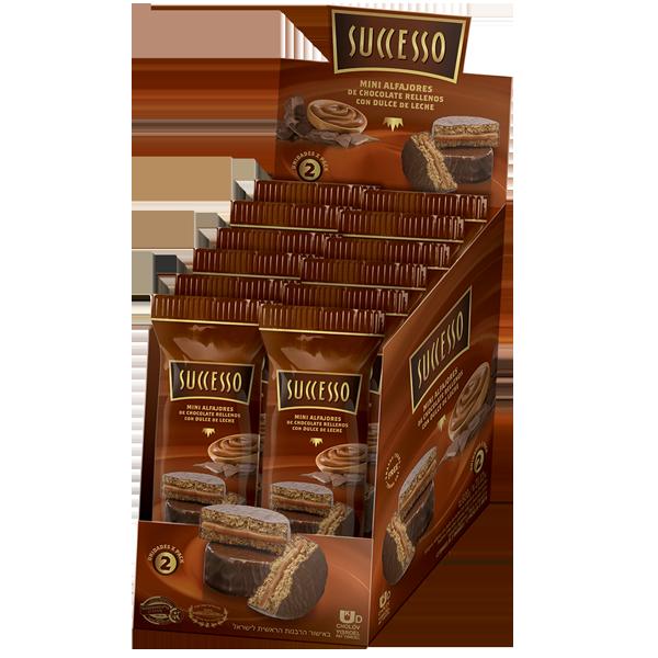 MINI ALFAJOR DE CHOCOLATE RELLENO CON DULCE DE LECHE X 12 PACKS DE 50 GRS. DE 2 UNIDADES C/U.
