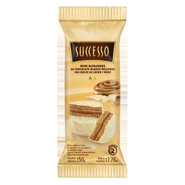 CHOCOLATE BLANCO RELLENO CON DULCE DE LECHE Y NUEZ X 12 PACKS DE 50 GRS. DE 2 UNIDADES C/U.